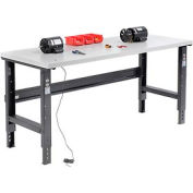 """72""""W X 30""""D ESD Square Edge Workbench - Adjustable Height - Black"""
