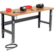 """72""""W X 30""""D Shop Top Square Edge Workbench - Adjustable Height - Black"""