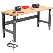"72""W X 30""D Ash Butcher Block Safety Edge Workbench - Adjustable Height - Black"