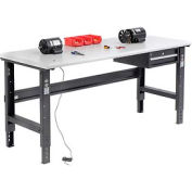 "72""W X 30""D ESD Safety Edge Workbench - Adjustable Height - Black"