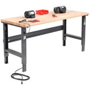 "72""W X 36""D Maple Butcher Block Safety Edge Workbench - Adjustable Height - Black"