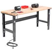 "72""W X 30""D Maple Butcher Block Safety Edge Workbench - Adjustable Height - Black"