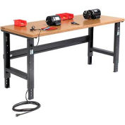 """72""""W X 36""""D Shop Top Safety Edge Workbench - Adjustable Height - Black"""