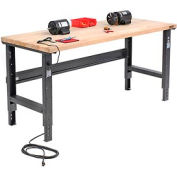 "72""W X 30""D Maple Butcher Block Square Edge Workbench - Adjustable Height - Black"
