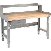 Global Industrial™ 60 x 36 Adj Height Workbench w/Drawer&Riser, Gray- Maple Square Edge Top