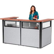 "U-Shaped Reception Station with Window, 88"" W x 44""D x 44""H, Cherry counter, Gray panel"