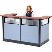 """U-Shaped Electric Reception Station with Window, 88""""W x 44""""D x 46""""H, Cherry Counter, Blue Panel"""