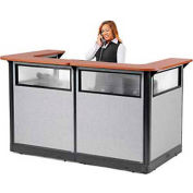 "U-Shaped Electric Reception Station with Window, 88""W x 44""D x 46""H, Cherry Counter, Gray Panel"