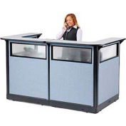 "U-Shaped Electric Reception Station with Window, 88""W x 44""D x 46""H, Gray Counter, Blue Panel"