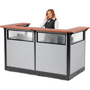 """U-Shaped Reception Station with Window and Raceway, 88""""W x 44""""D x 46""""H, Cherry Counter, Gray Panel"""
