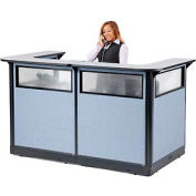 "U-Shaped Reception Station with Window and Raceway, 88""W x 44""D x 46""H, Gray Counter, Blue Panel"