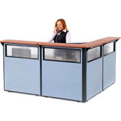 "L-Shaped Reception Station with Window, 80""W x 80""D x 44""H, Cherry Counter, Blue Panel"