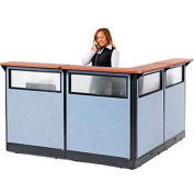 "L-Shaped Electric Reception Station with Window, 80""W x 80""D x 46""H, Cherry Counter, Blue Panel"