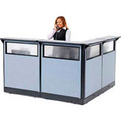 "L-Shaped Electric Reception Station with Window, 80""W x 80""D x 46""H, Gray Counter, Blue Panel"