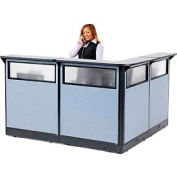 "L-Shaped Reception Station with Window and Raceway, 80""W x 80""D x 46""H, Gray Counter, Blue Panel"