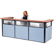 "U-Shaped Reception Station with Window, 124""W x 44""D x 44""H, Cherry Counter, Blue Panel"
