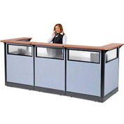 "U-Shaped Electric Reception Station with Window, 124""W x 44""D x 46""H, Cherry Counter, Blue Panel"