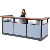 "U-Shaped Reception Station with Window and Raceway, 124""W x 44""D x 46""H, Cherry Counter, Blue Panel"