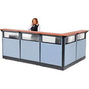"L-Shaped Reception Station with Window and Raceway, 116""W x 80""D x 46""H, Cherry Counter, Blue Panel"