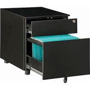 2 Drawer File cabinet for Single & Double Open Office Desks, Black
