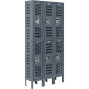 Infinity™ Heavy Duty Ventilated Steel Locker, Double Tier, 3-Wide, 12x12x36, Unassembled, Gray