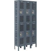Infinity™ Heavy Duty Ventilated Steel Locker, Double Tier, 3-Wide, 12x12x36, Unassembled, Gray