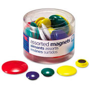 Officemate Assorted Magnets, Circles, Assorted Sizes and Colors, 30 per Tub