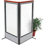 "Deluxe Freestanding 2-Panel Corner Room Divider with Full Window, 36-1/4""W x 73-1/2""H Panels, Gray"