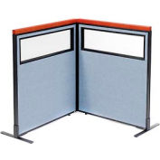 """Deluxe Freestanding 2-Panel Corner Divider with Partial Window, 36-1/4""""W x 43-1/2""""H Panels, Blue"""