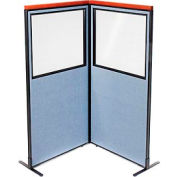 "Deluxe Freestanding 2-Panel Corner Divider with Partial Window, 36-1/4""W x 73-1/2""H Panels, Blue"
