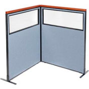 "Deluxe Freestanding 2-Panel Corner Divider with Partial Window, 48-1/4""W x 61-1/2""H Panels, Blue"