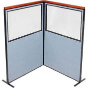 "Deluxe Freestanding 2-Panel Corner Divider with Partial Window, 48-1/4""W x 73-1/2""H Panels, Blue"