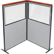 "Deluxe Freestanding 2-Panel Corner Divider with Partial Window, 48-1/4""W x 73-1/2""H Panels, Gray"