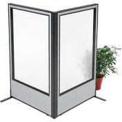 "Freestanding 2-Panel Corner Room Divider with Full Window, 36-1/4""W x 60""H Panels, Gray"