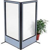 "Freestanding 2-Panel Corner Room Divider with Full Window, 36-1/4""W x 72""H Panels, Blue"