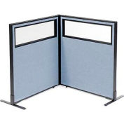 "Freestanding 2-Panel Corner Room Divider with Partial Window, 36-1/4""W x 42""H Panels, Blue"