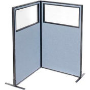 """Freestanding 2-Panel Corner Room Divider with Partial Window, 36-1/4""""W x 60""""H Panels, Blue"""