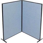 "Freestanding 2-Panel Corner Room Divider, 48-1/4""W x 72""H Panels, Blue"