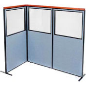 """Deluxe Freestanding 3-Panel Corner Divider with Partial Window, 36-1/4""""W x 73-1/2""""H Panels, Blue"""