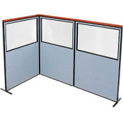 "Deluxe Freestanding 3-Panel Corner Divider with Partial Window, 48-1/4""W x 73-1/2""H Panels, Blue"