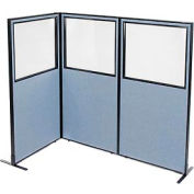 "Freestanding 3-Panel Corner Room Divider with Partial Window, 36-1/4""W x 72""H Panels, Blue"