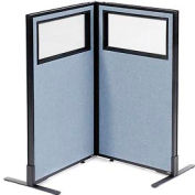 "Freestanding 2-Panel Corner Room Divider with Partial Window, 24-1/4""W x 42""H Panels, Blue"