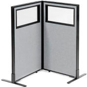 "Freestanding 2-Panel Corner Room Divider with Partial Window, 24-1/4""W x 42""H Panels, Gray"
