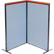 "Deluxe Freestanding 2-Panel Corner Room Divider, 36-1/4""W x 61-1/2""H Panels, Blue"