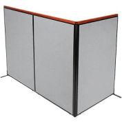 "Deluxe Freestanding 3-Panel Corner Room Divider, 48-1/4""W x 73-1/2""H Panels, Gray"