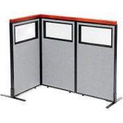 "Deluxe Freestanding 3-Panel Corner Divider with Partial Window, 24-1/4""W x 43-1/2""H Panels, Gray"