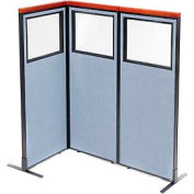 "Deluxe Freestanding 3-Panel Corner Divider with Partial Window, 24-1/4""W x 61-1/2""H Panels, Blue"