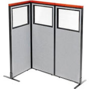 "Deluxe Freestanding 3-Panel Corner Divider with Partial Window, 24-1/4""W x 61-1/2""H Panels, Gray"