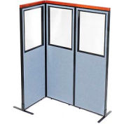 "Deluxe Freestanding 3-Panel Corner Divider with Partial Window, 24-1/4""W x 73-1/2""H Panels, Blue"