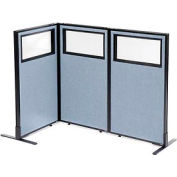 "Freestanding 3-Panel Corner Room Divider with Partial Window, 24-1/4""W x 42""H Panels, Blue"